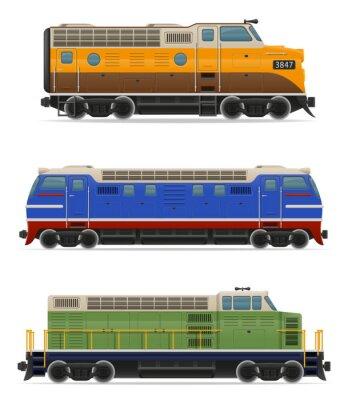 Naklejka zestaw ikon lokomotyw kolejowych ilustracji wektorowych pociągu