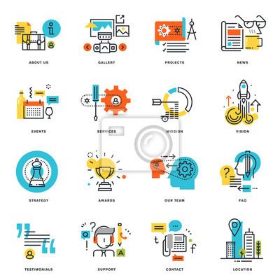 Zestaw ikon płaska konstrukcja linii biznesowych. ilustracji wektorowych koncepcje graficzne i projektowanie stron internetowych i rozwój, odizolowane na białym.