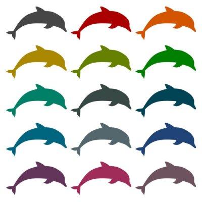 Naklejka zestaw ikon Silhouette delfinów