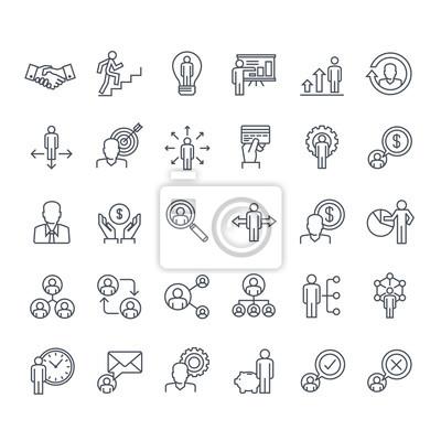 Zestaw ikon Thinline. Ikony dla biznesu, zarządzania, finansów, strategii, planowania, analiz, bankowości, komunikacji, sieci społecznych, marketingu afiliacyjnego.
