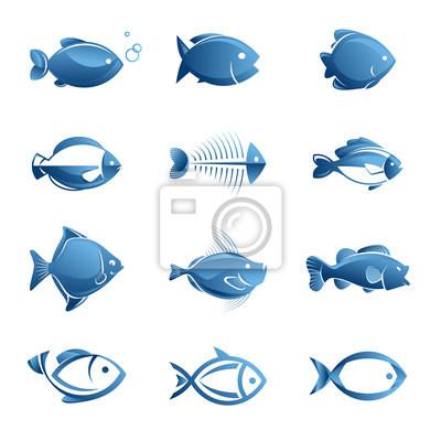 Zestaw ikon wektora ryb