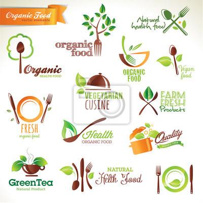 Zestaw ikon wektorowych i elementów dla żywności ekologicznej