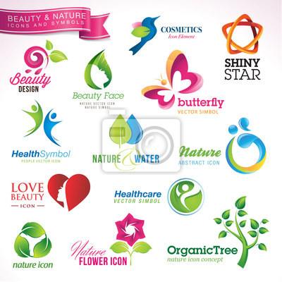 Zestaw ikon wektorowych i symboli dla piękna i natury