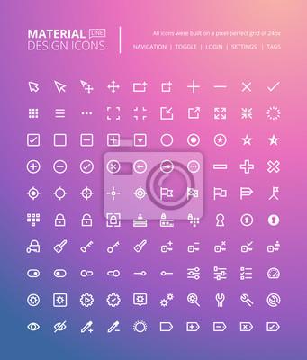 Zestaw ikon wzoru materiałów. Pixel doskonałe ikony do nawigacji i ustawień, przełączniki i znaczniki, tworzenie stron internetowych i aplikacji.