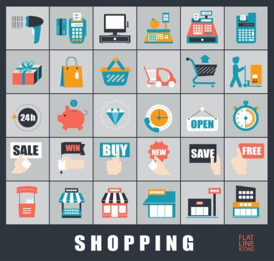 Zestaw ikon zakupów. Wysokiej jakości kolekcja ikon płaskiej linii.