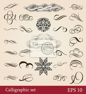 zestaw ilustracji, elementy projektu kaligraficzne i strony dekoracji