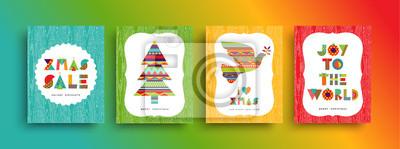 Zestaw kart kształt kolorowy geometria Wesołych Świąt