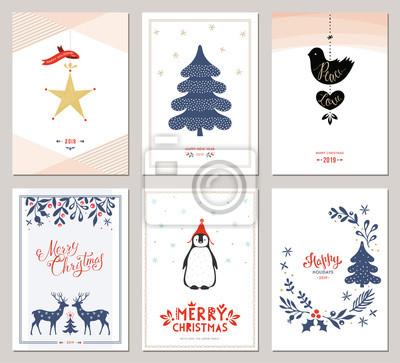 Zestaw kart okolicznościowych Wesołych Świąt i Szczęśliwego Nowego Roku. Ilustracji wektorowych.