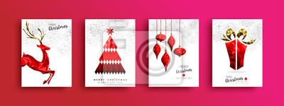 Zestaw kart świątecznych i świątecznych czerwony low poly