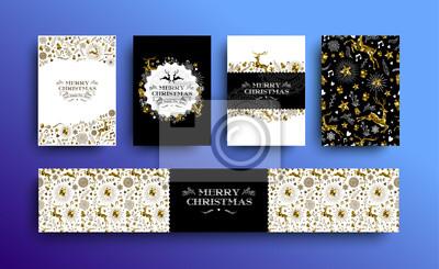 Zestaw kart świątecznych ze złotem i złotym jeleniem