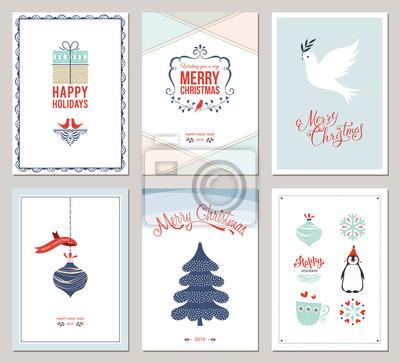 Zestaw kart Wesołych Świąt i Wesołych Świąt z drzewkiem noworocznym, pudełkiem, gołębicą, ozdobami i dekoracyjnymi płatkami śniegu.
