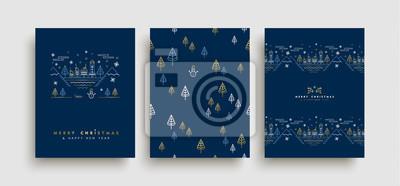 Zestaw kart zarys złota Boże Narodzenie i nowy rok