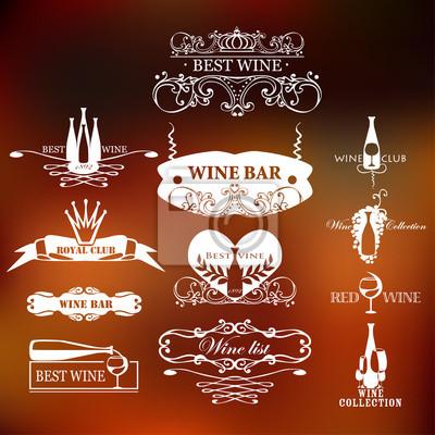Zestaw klasycznych elementów stylu do etykiet i odznaki dla wina