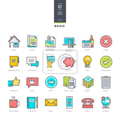 Zestaw kolor linii nowoczesne ikony dla projektu strony internetowej