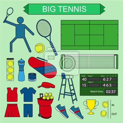 Zestaw kolorowych dużych ikon tenisa.