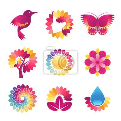 Zestaw kolorowych ikon dla kosmetyki, spa, kosmetycznych