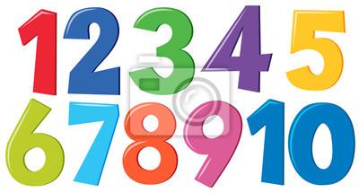 Naklejka Zestaw kolorowych liczb
