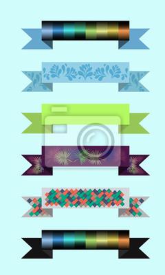 Zestaw kolorowych wstążek z wzorem na stronie internetowej