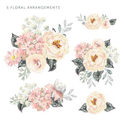 Naklejka Zestaw kompozycji kwiatowych. Jasnoróżowe piwonie i hortensja z szarymi liśćmi. Akwarela wektor romantyczne kwiaty ogrodowe.