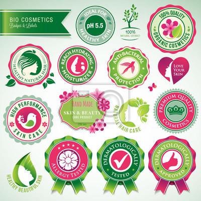 Zestaw kosmetyków odznak i etykiet