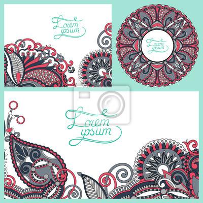 zestaw kwiatów dekoracyjne tło, szablon projektu ramki dla c