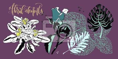 zestaw kwiatów i liści w realistycznym i dekoracyjnym stylu