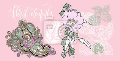 zestaw kwiatów i liści w realistycznym i dekoracyjnym stylu, f