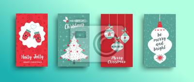 Zestaw ładny kartki świąteczne w stylu retro