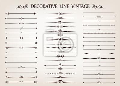 Naklejka zestaw linii vintage