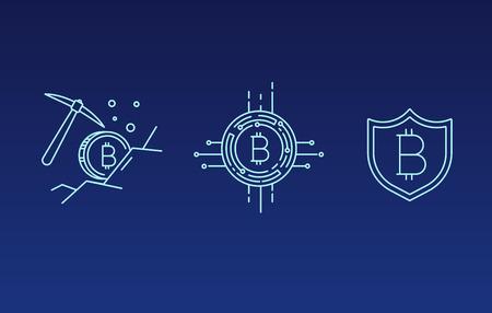 Zestaw linii wektor uderzenie wektor bitcoin i projektowanie ikon kryptowalut