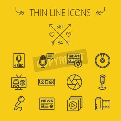 Zestaw multimedialny cienka linia ikona dla sieci web i mobile. Set zawiera-nagrywanie tylko znak, mikrofon, prasa, prezenter, ikony odtwarzacza magnetofon. Nowoczesne minimalistyczne płaska. Wektor c