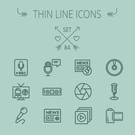 Zestaw multimedialny Thinline ikona dla sieci web i mobile. Set zawiera-nagrywanie tylko znak, mikrofon, prasa, prezenter, ikony odtwarzacza magnetofon. Nowoczesne minimalistyczne płaska. Wektor ciemn