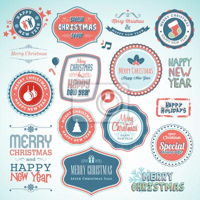 Zestaw naklejek i elementów na Boże Narodzenie i Nowy Rok
