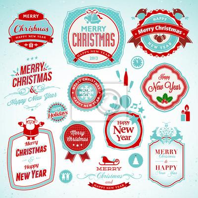 Zestaw naklejek i odznak na Nowy Rok i Boże Narodzenie