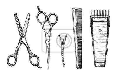 Naklejka Zestaw narzędzi fryzjerskich