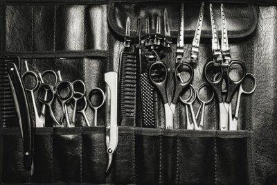 Naklejka Zestaw narzędzi tnących do cięcia fryzjer salon brody