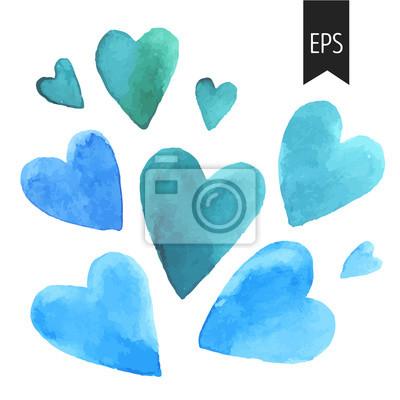 Zestaw niebieski serc akwarelowych.