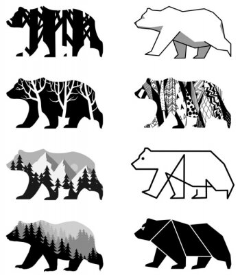 Naklejka zestaw niedźwiedzie