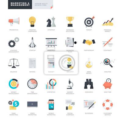 Zestaw nowoczesnych ikon biznesowych i marketingowych płaska