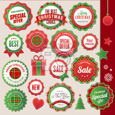 Zestaw odznak i elementów na Boże Narodzenie i Nowy Rok
