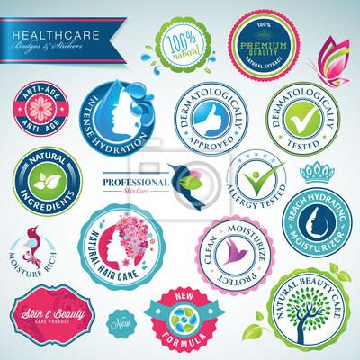 Zestaw odznak opieki zdrowotnej i naklejki
