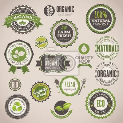 Zestaw odznak organicznych i etykiet