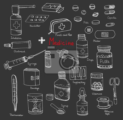 Naklejka Zestaw opieki zdrowotnej i medycyny ręcznie rysowane ikony, doodle elementy medyczne, tło wektor z wellness rysunki odręczne wektor szkic ilustracji z przedstawionymi ikon medycznych