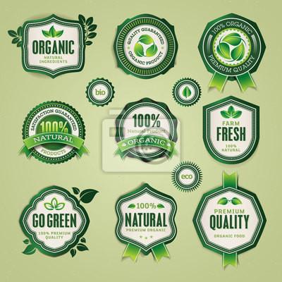 Zestaw organicznych i naturalnych odznak i etykiet