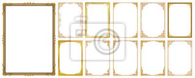 Naklejka Zestaw ozdobny ramki i zestaw granic, złota ramka z rogu Tajlandia linia kwiatowy na obraz, wektor wzór ozdoba wzór. projekt granicy jest wzór stylu tajskim sztuki