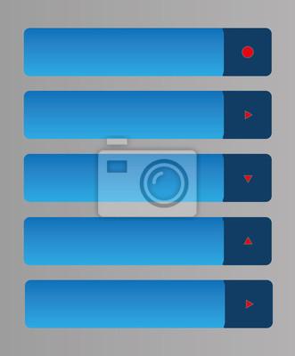 Zestaw pięciu internetowych przyciski z czerwoną strzałką lub okręgu.