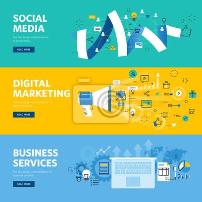 Zestaw płaską linię projektowanie stron internetowych banerów dla social media, marketing internetowy, sieci i usług biznesowych. ilustracji wektorowych koncepcje projektowania stron internetowych, ma