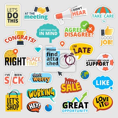 Zestaw płaska naklejki biznesowych. Izolowane ilustracji wektorowych dla komunikacji biznesowej, społecznej sieci, social media, projektowanie stron internetowych, prezentacji biznesowych, materiałów