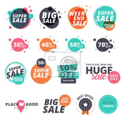 Naklejka Zestaw płaska sprzedaży naklejek. ilustracji wektorowych na zakupy online, promocji produktów, strona internetowa oraz strona internetowa odznaki mobilnych, reklamy, materiał do druku.