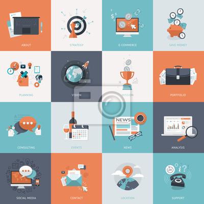 Zestaw płaskich ikon projektowania koncepcji biznesowych